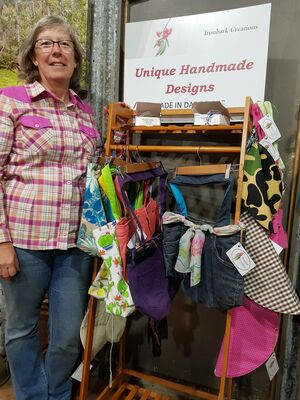 Sue Neale from Ironbark Creations with items Handmade From Recycled Fabrics